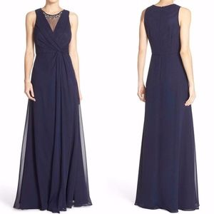NEW ELIZA J NAVY EMBELLISHED Chiffon DRAPED GOWN 4